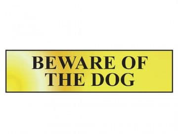 Beware Of The Dog - Polished Brass Effect 200 x 50mm